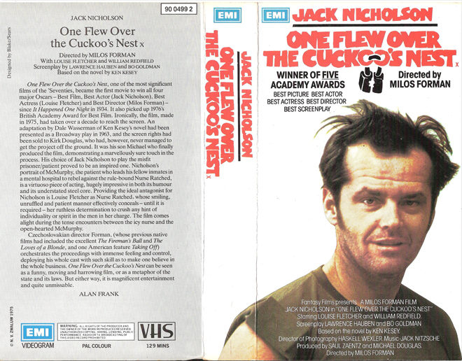 "movie one flew over the cuckoos nest essay Reviewing a movie which has been considered a classic by contemporary judgment by the academy awards committee is always difficult milos forman's, ""one flew over the cuckoo's nest"" is one such film which has won critical claim winning five oscars including best motion picture, best director, best actor (jack nicholson), actress (louise."